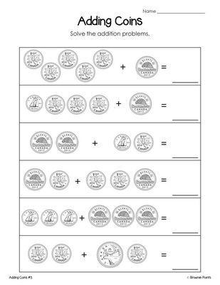 Grade 2 math worksheets money canadian