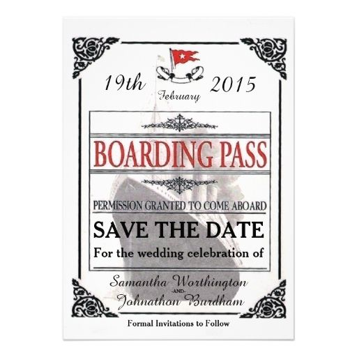 Vintage Titanic Boarding Pass Save The Date Invitations Wedding Invitation Save The Date And