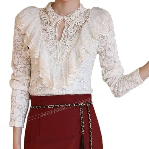 White Victorian High Neck Blouse 21