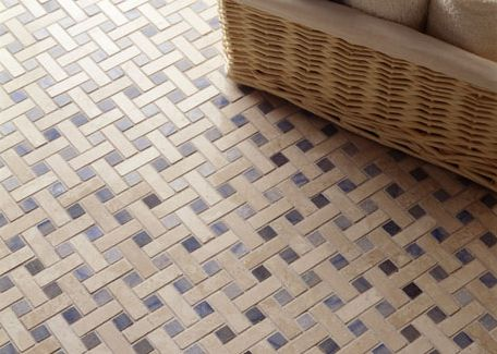 Bathroom With Beige Grey And White Basketweave Tile I Want This Tile