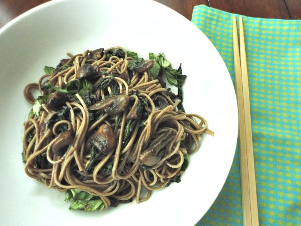 Soba Noodles with Swiss Chard and Mushrooms~ #Sunday Supper