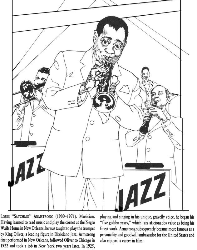 Pin By Kathleen Shirfrin On February Pinterest Louis Armstrong Coloring Page