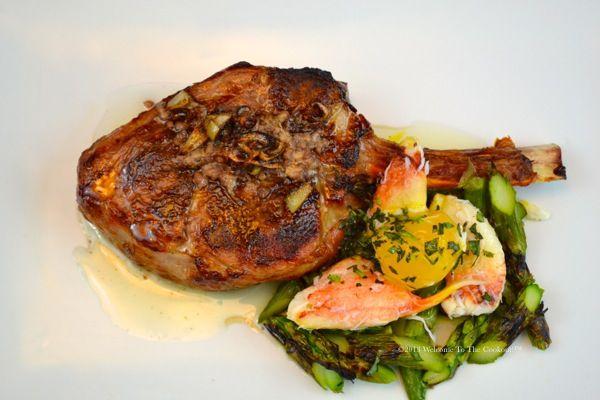 """Chop """"Oskar"""" A 10 ounce veal loin rib chop is prepared sous vide ..."""