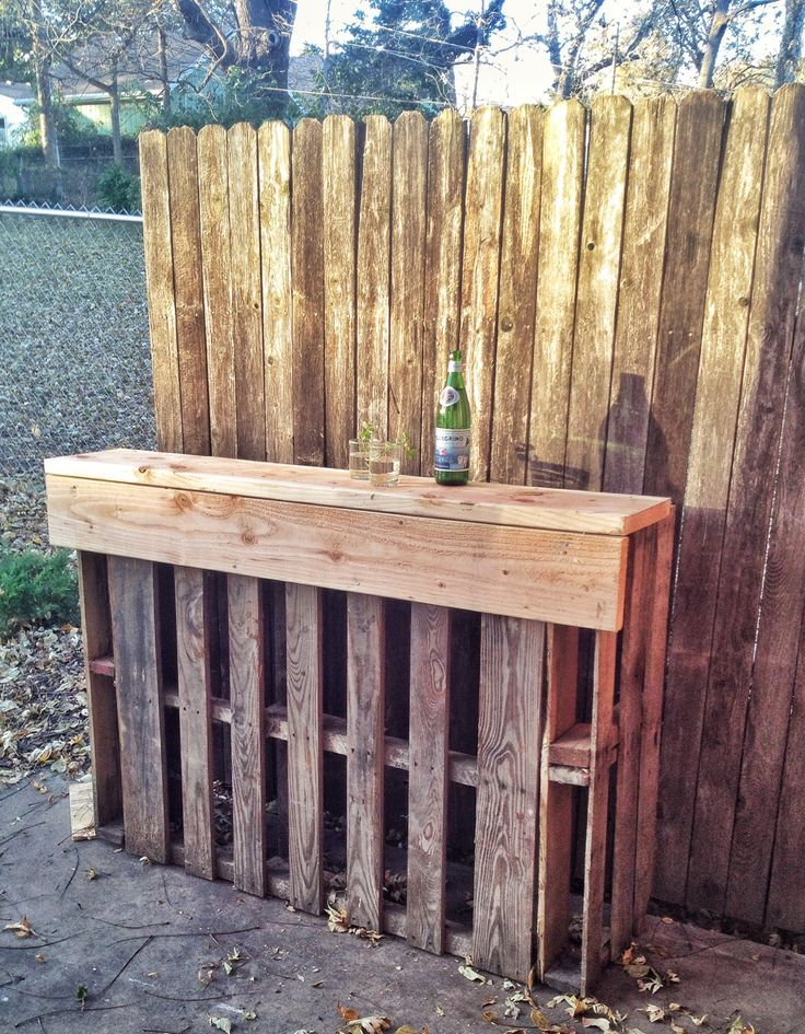 Pallet patio bar the image kid has it for Diy balcony bar