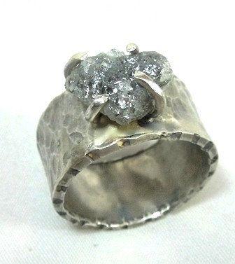 4 Carat Rough Diamond ring, Raw Diamond Statement Ring, Cocktail Ring, Gemstone Ring. $290.00, via Etsy.