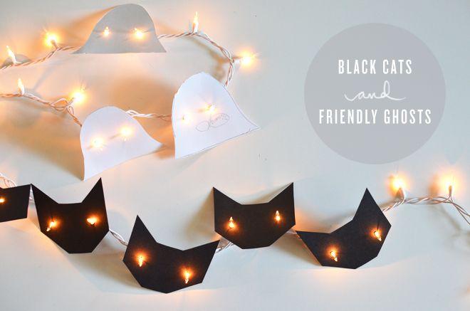 Guirnalda de gatos negros para halloween. una idea de decoración muy fácil!
