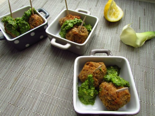 Lentil Meatballs with Lemon Pesto | VEGAN RECIPES | Pinterest