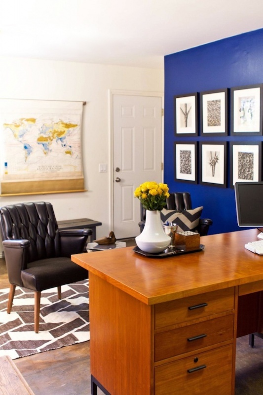 blue accent wall with white Office Pinterest