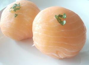 Smoked salmon temari zushi: Ball-shaped sushi
