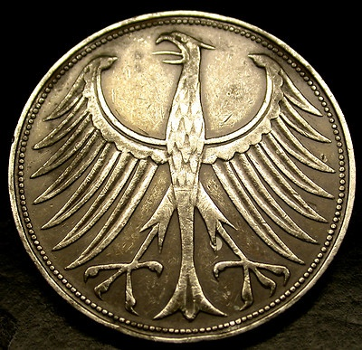 1951 Germany SILVER 5 Marks Screaming Eagle Silver Coin in GREAT SHAPE!