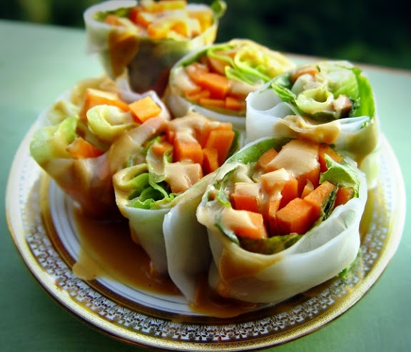 Summer Rolls with Spicy Peanut Dipping Sauce