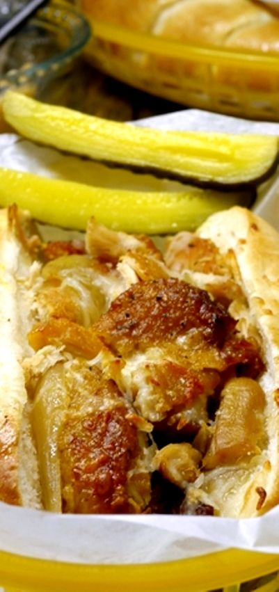 Slow Cooker-Braised Chicken, Onion and Cheese Sandwiches | Recipe