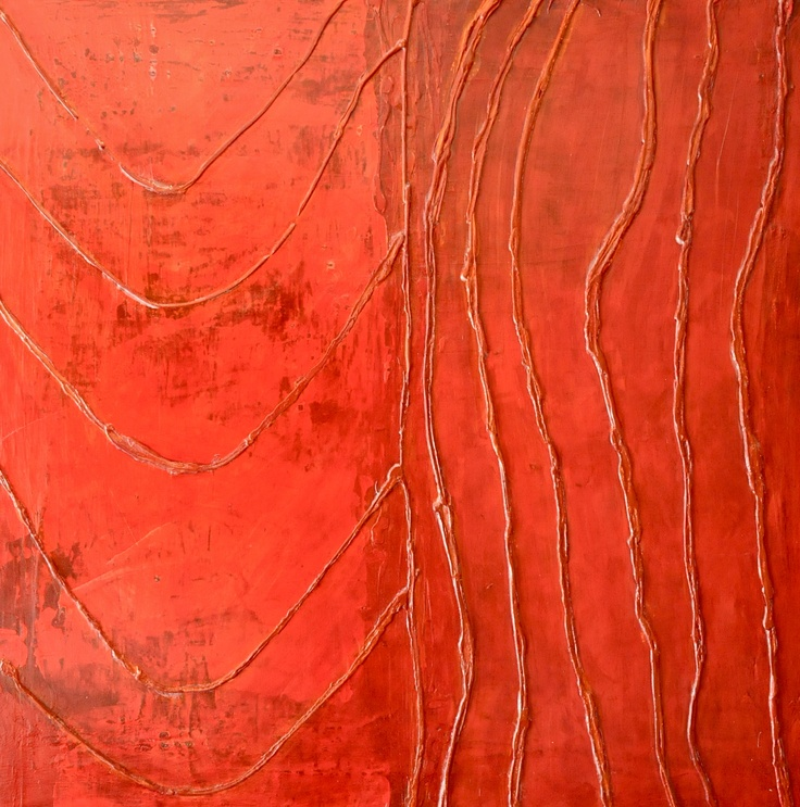 "Soffa rosse  40"" x 40""  Mixed media on canvas"