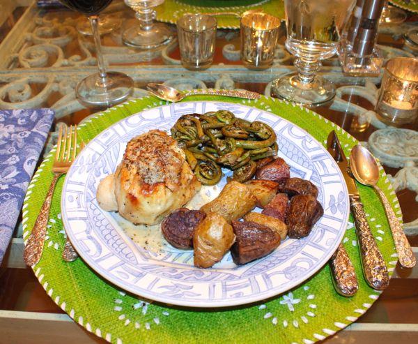 ... Goat Cheese-Stuffed Chicken & Sautéed Garlicky Fiddlehead Ferns