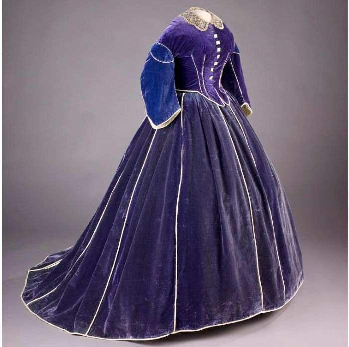 Mary Lincoln's purple velvet skirt with daytime bodice is believed to have been made by African American dressmaker Elizabeth Keckly. The first lady wore the gown during the Washington winter social season in 1861–62. Both pieces are piped with white satin, and the bodice is trimmed with mother-of pearl buttons. An evening bodice was included with the ensemble. The lace collar is of the period, but not original to the dress.