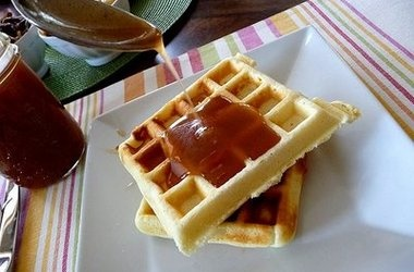 Waffles with Apple Cider Syrup and Pecans — Punchfork