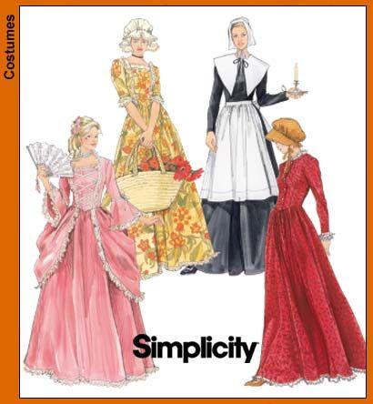 Misses Costume Sewing Pattern, Puritan, Pilgrim, Pioneer Woman