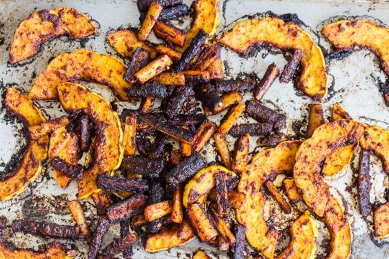 harissa-roasted squash and carrots from Joy of Cooking