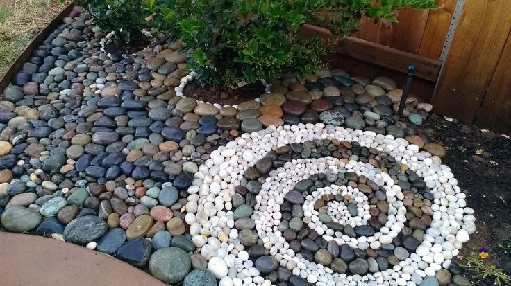 Beach rock landscape swirl design gardening pinterest for Beach rocks for landscaping