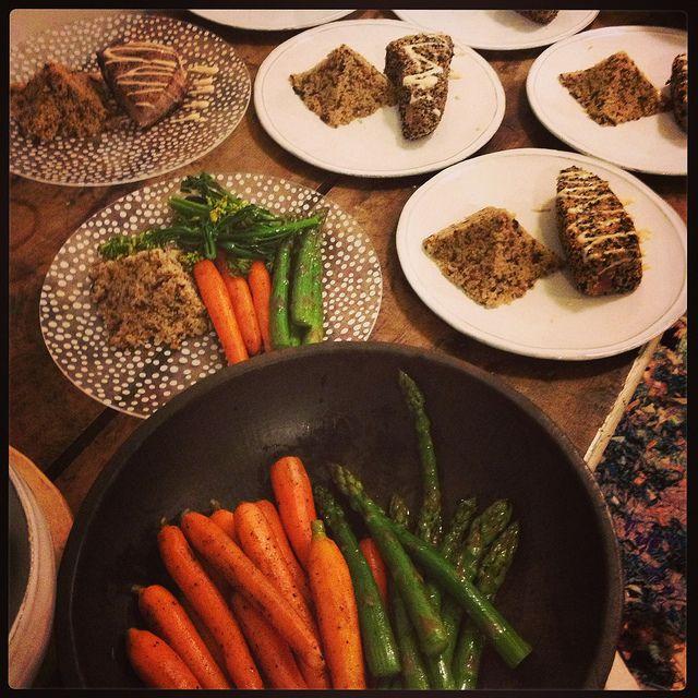 Sesame Crusted Ahi Tuna Steaks with Wasabi Mayo Drizzle Mixed quinoa ...