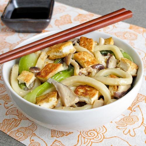 Miso Udon Noodles with Tofu Soup