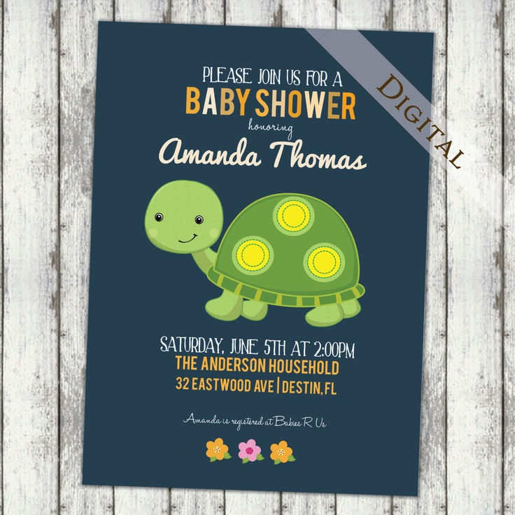baby boy shower invitations with turtle blue orange and green baby