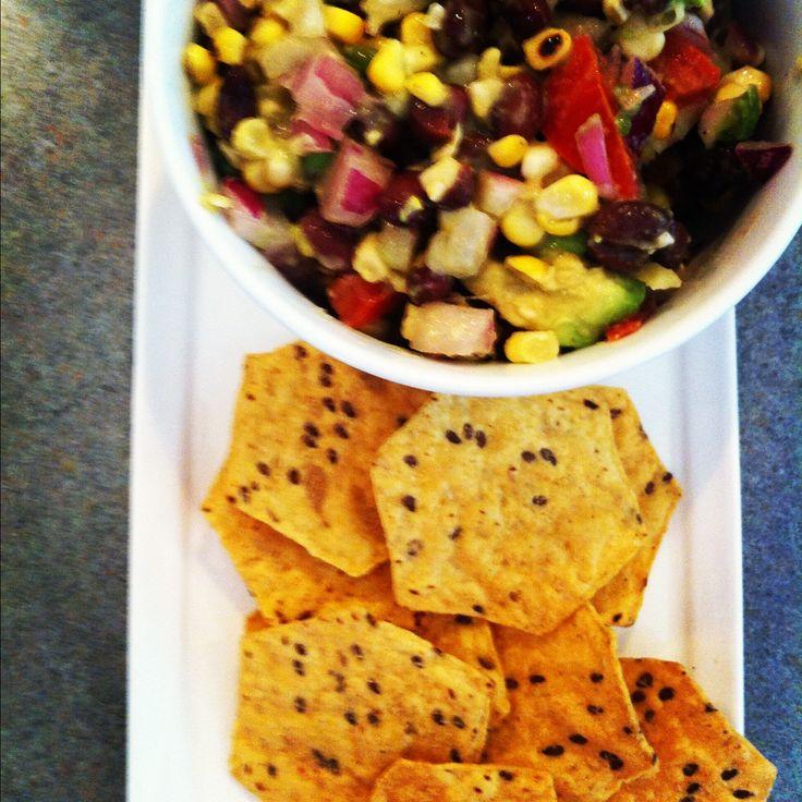 simple grilled corn + avocado + black bean salsa