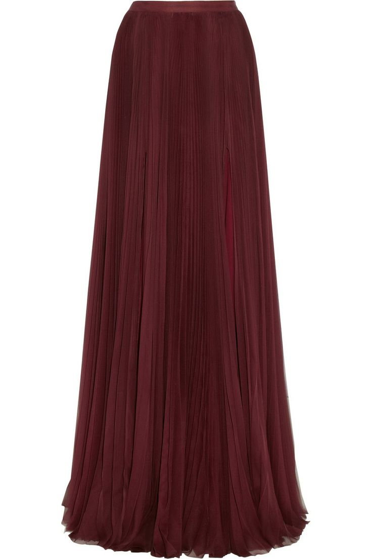 pleated silk chiffon maxi skirt