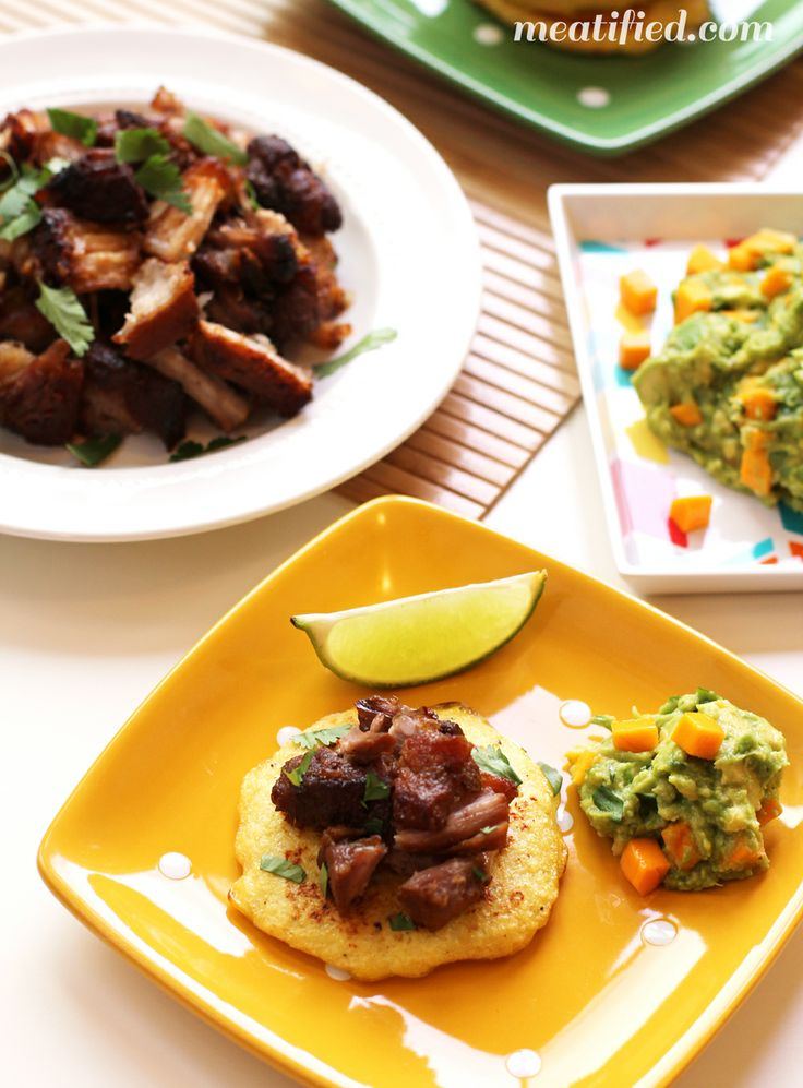 Pork Belly Carnitas with Mango Guacamole from http://meatified.com ...