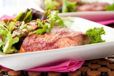 Raspberry Ginger Baked Salmon: Raspberry and ginger fill this salmon ...