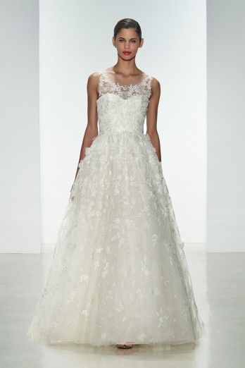 """Amsale Spring 2015 """"Drake"""" gown. Embellished natural waist ballgown with crystal hand-beading and silk flowers."""