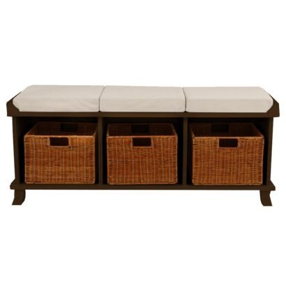 Entryway Bench With 3 Baskets Cushions Espresso