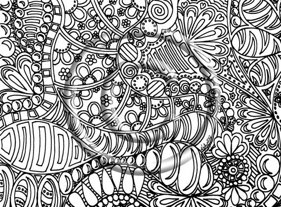 Groovy Abstract Coloring Pages : Instant download coloring page hand drawn zentangle