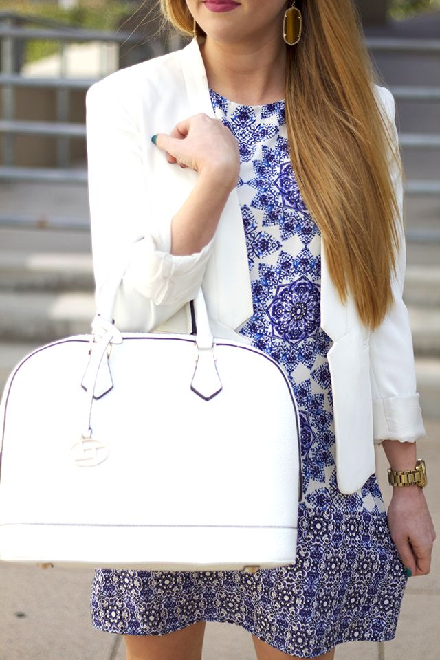 Blue Floral Print + Ivory Doctor Bag