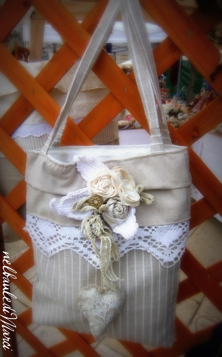 shopper,bag,borsa,shabby,white,pizzo,cucito creativo
