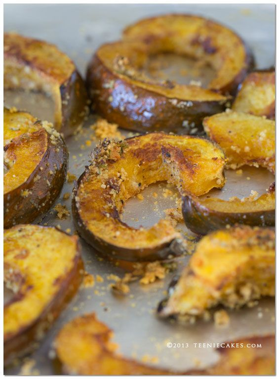 Parmesan-Thyme Roasted Acorn Squash recipe from TeenieCakes.com