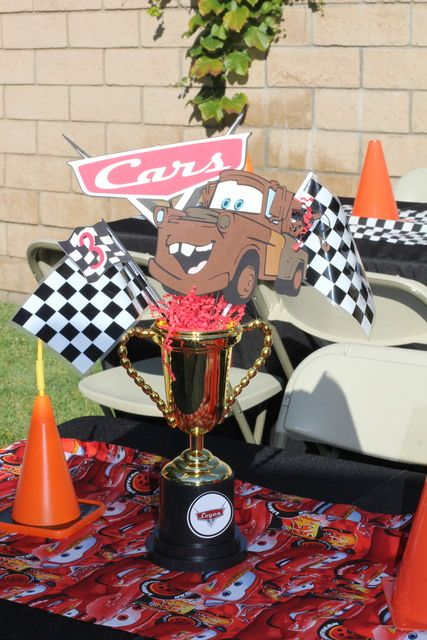 Centerpieces at a cars party carsparty centerpiece