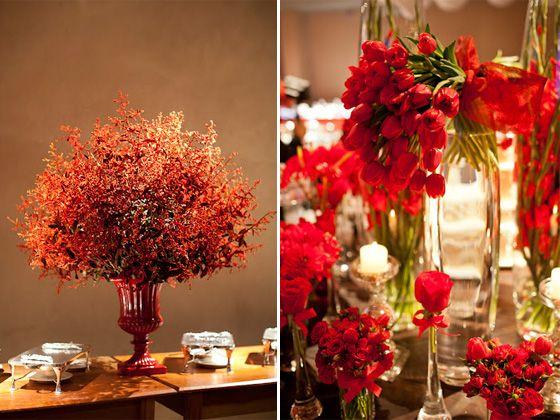 decoracao flores vermelhas casamento