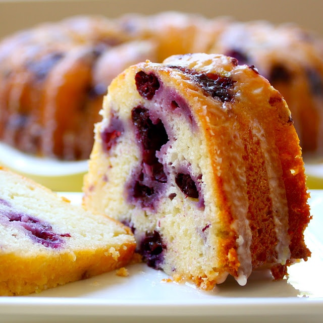 Blueberry Lemon Pound Cake using low fat cream cheese and non-fat ...