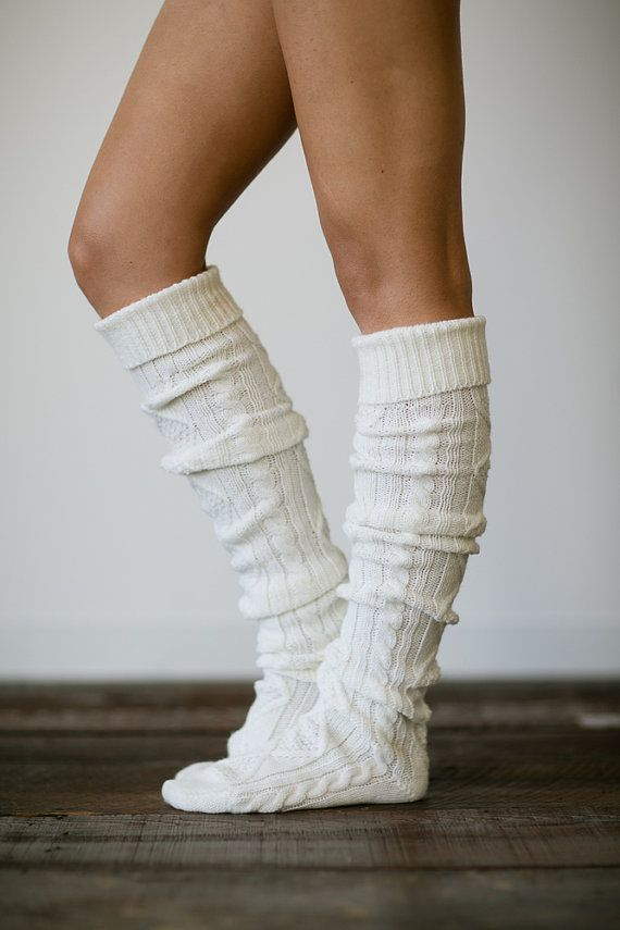 Ivory Knitted Slipper Boot Socks Cable Knit Lounge Hosiery Socks Thigh High Winter Cozy Slippers Long Slippers