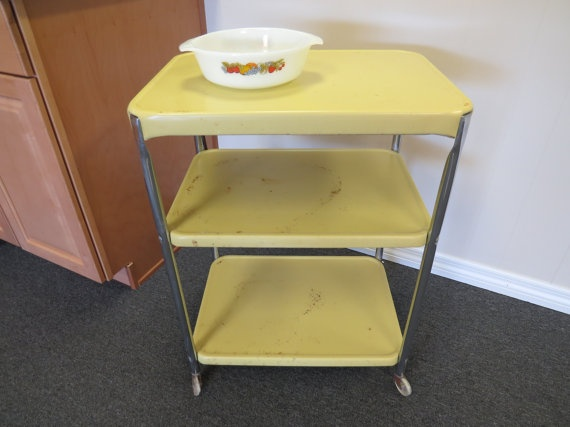 metal 3 tier serving cart retro kitchen cosco cart butter yellow