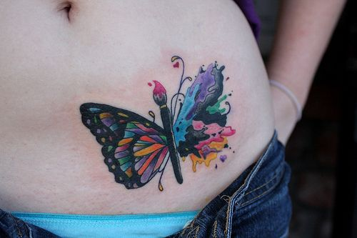butterfly/paint tattoo
