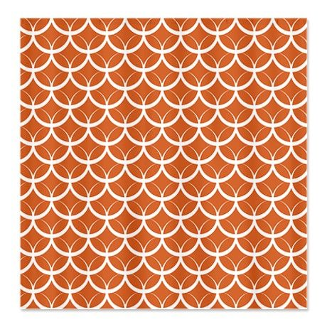 orange circle pattern shower curtain on