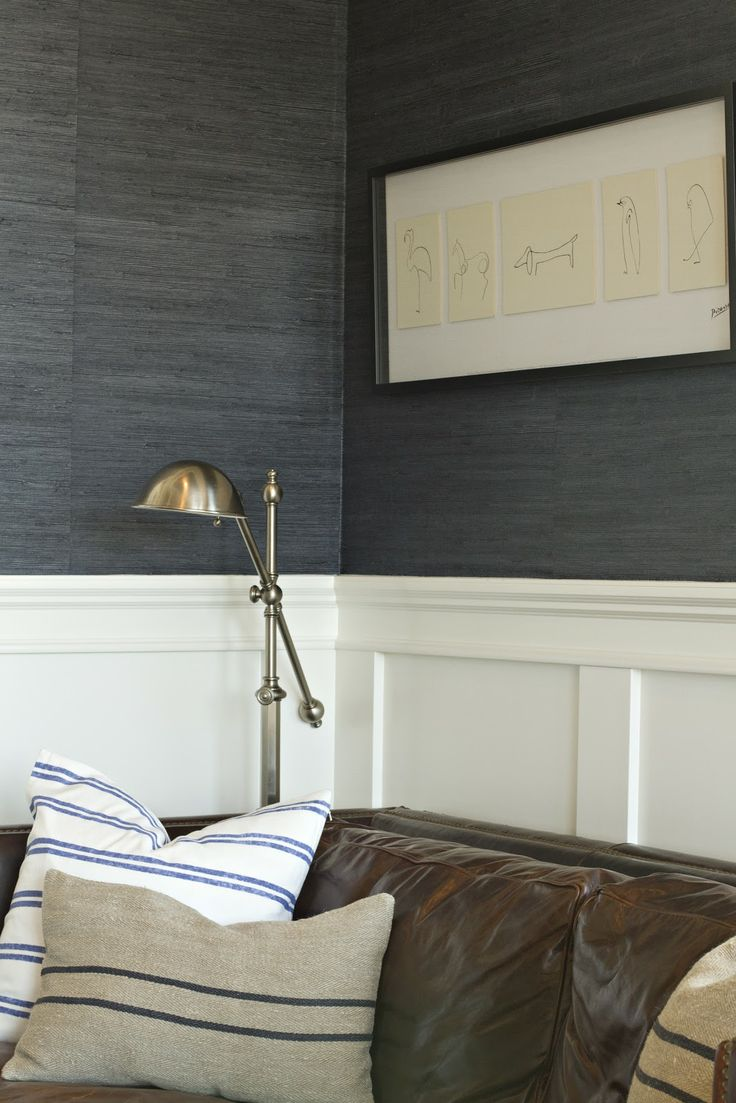 Navy Grasscloth Warm Brass Leather Home Remodel Ideas