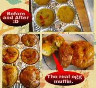 The real egg Muffins 1) 12 Eggs 2) 1/2 cup chopped onion 3) 1/4 cup ...