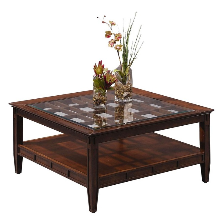 Square Cocktail Table W Lattice Glass Top In Cherry Finish
