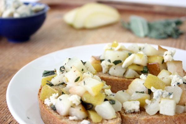 Pear, Sage, and Blue Cheese crostinis. Easy but they look fancy ...