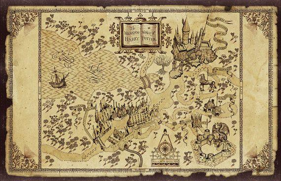 Retro Harry Potter 39 s Magic World Map Cotton Fabric Best as Wallpaper