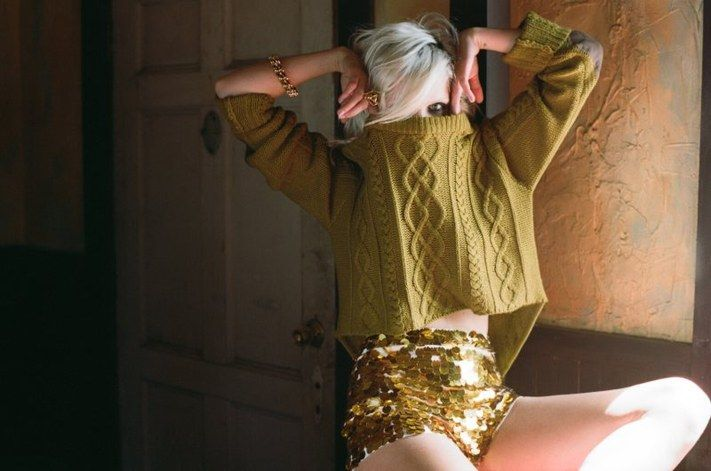 gold sequin shorty shorts