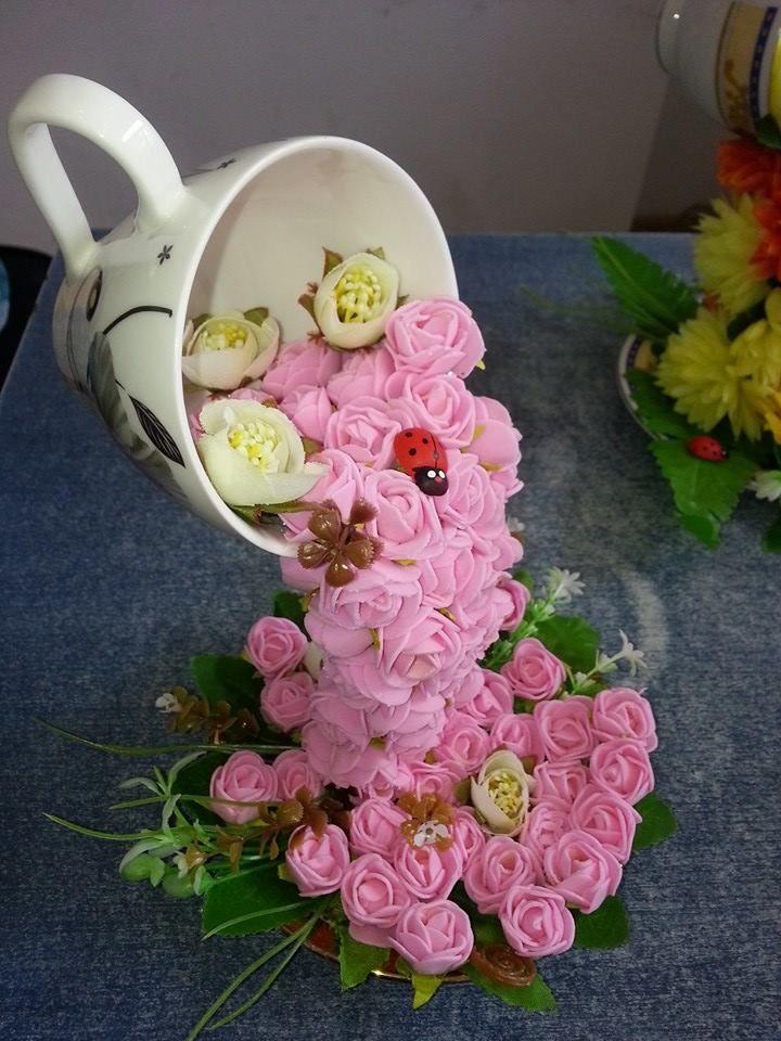 Кружка с блюдцем из цветов своими руками 58